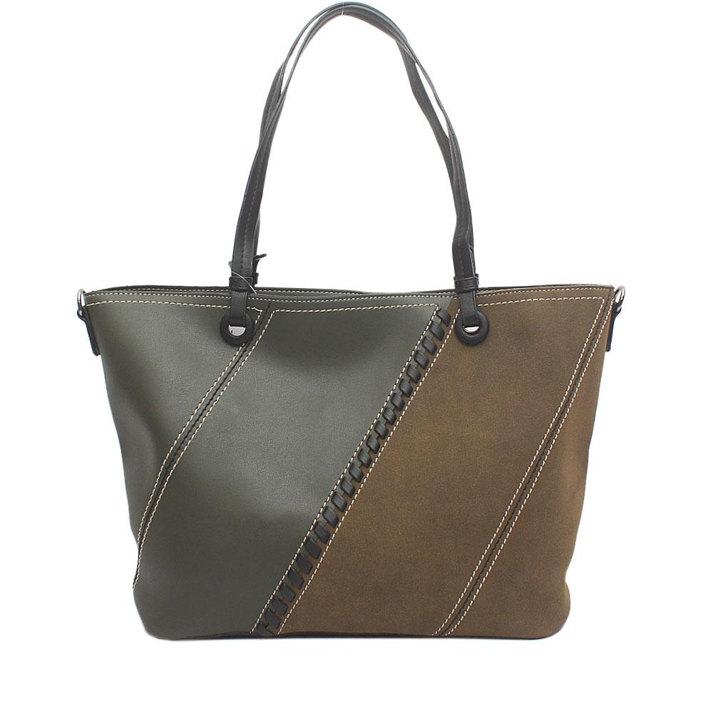 London Style Green Suede Leather Tote Bag