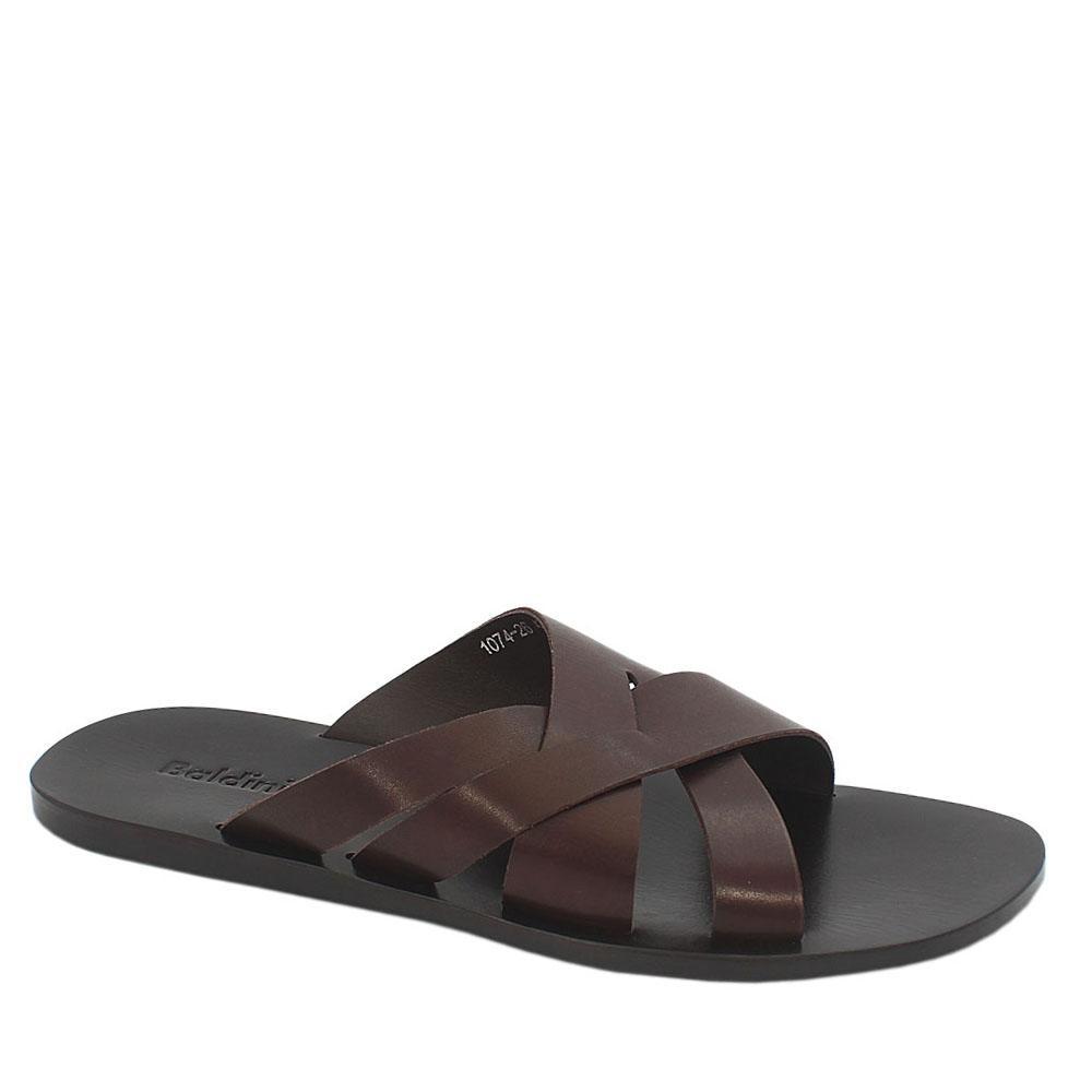 Brown Cross Styled Italian Leather Men Slippers