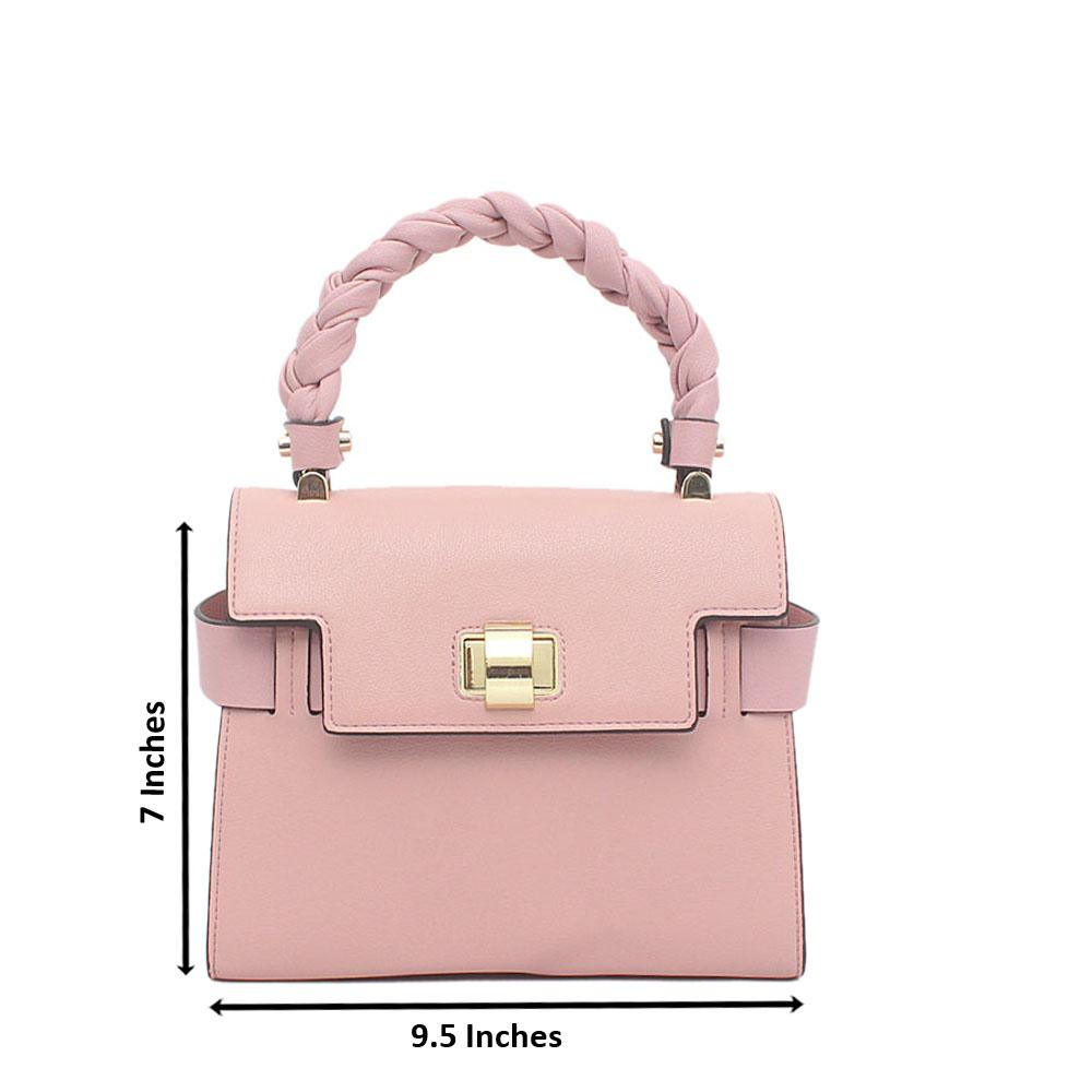 Pink Saffiano Top Handle Bag