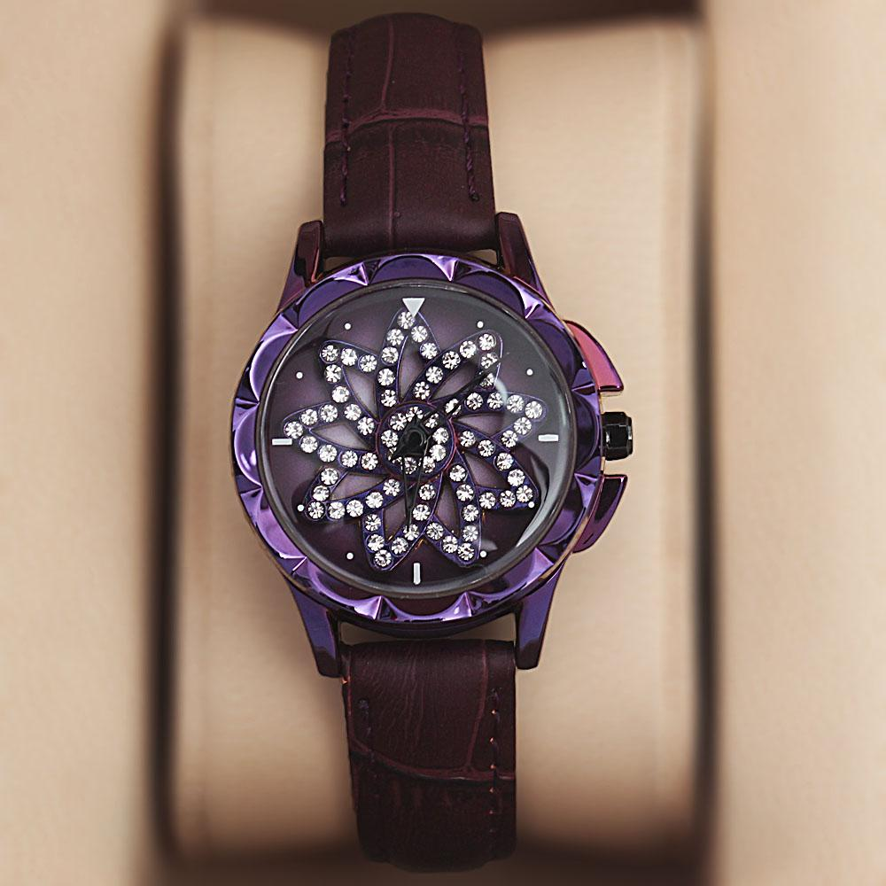 Purple Crystal Studded Leather Spinners Ladies Watch