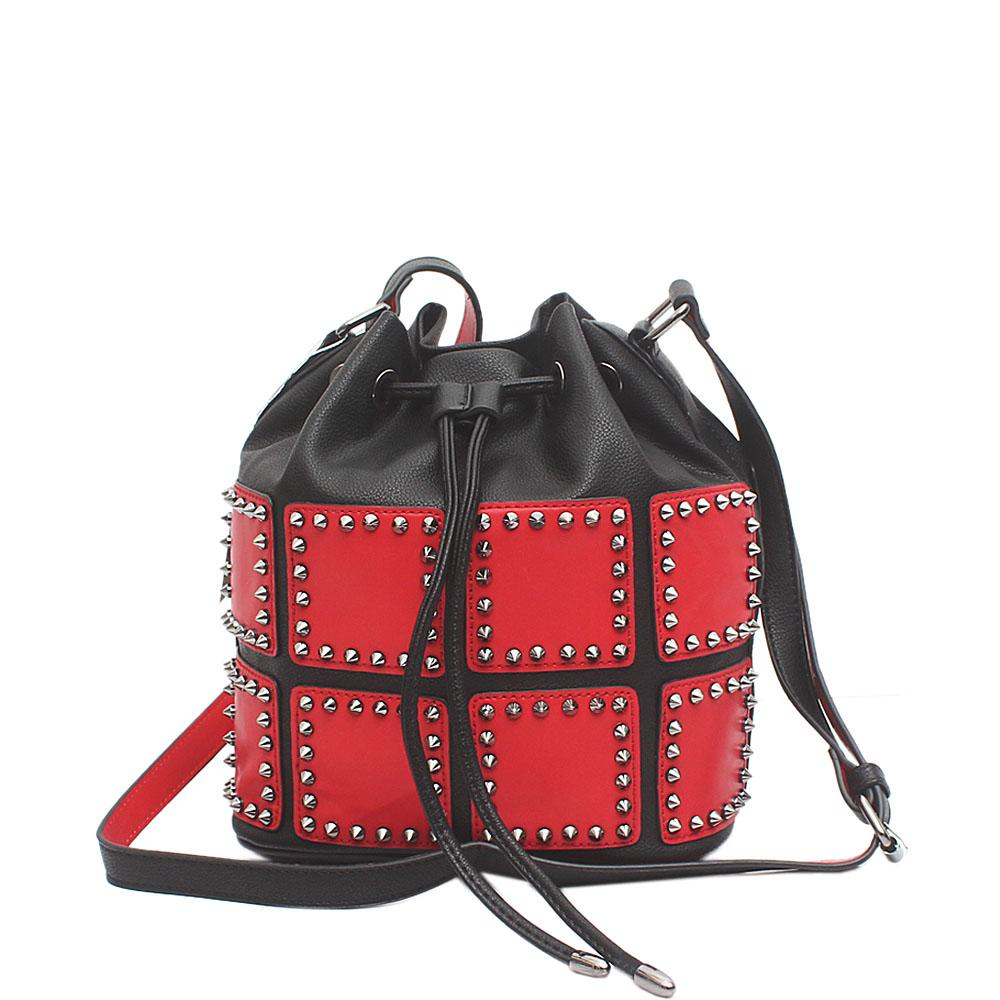 Safari Club Black Red Studded Leather Bucket Bag