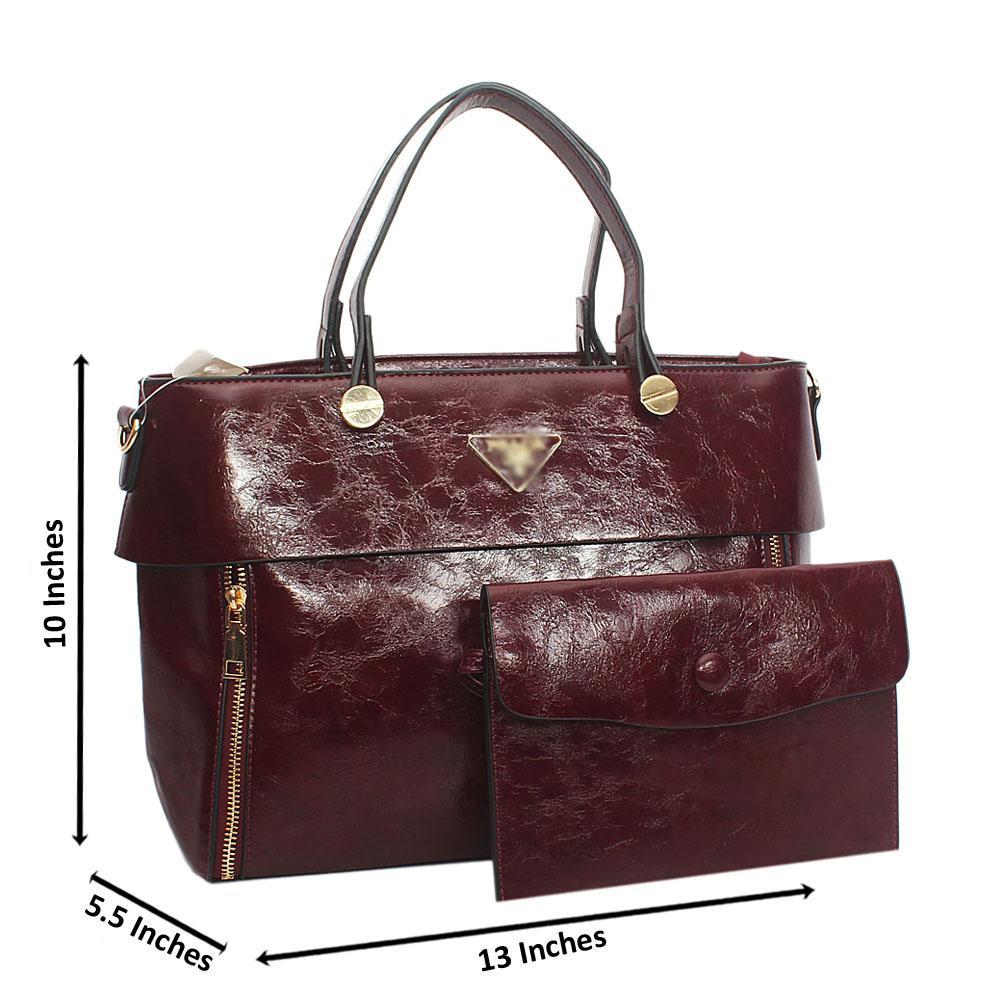 Wine Orla Tuscany Leather Tote Handbag