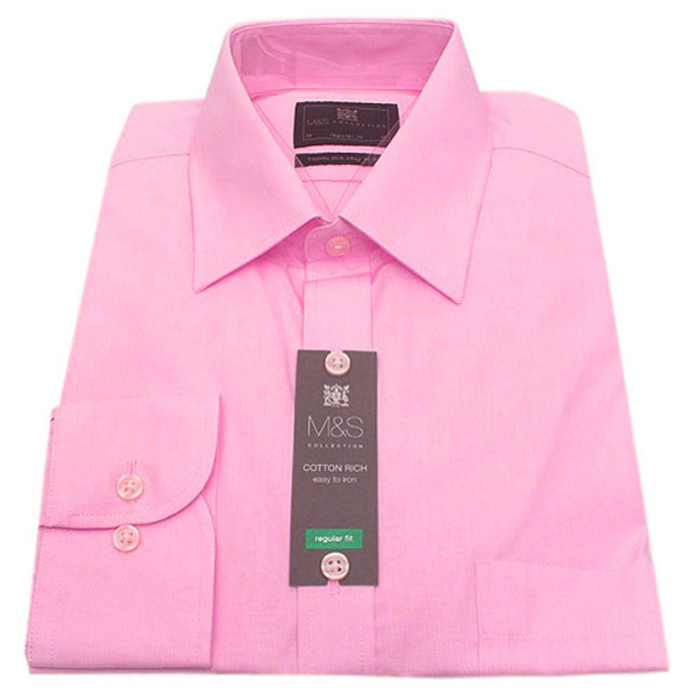 M&S Collection Pink Tailored Fit L/Sleeve Men Shirt