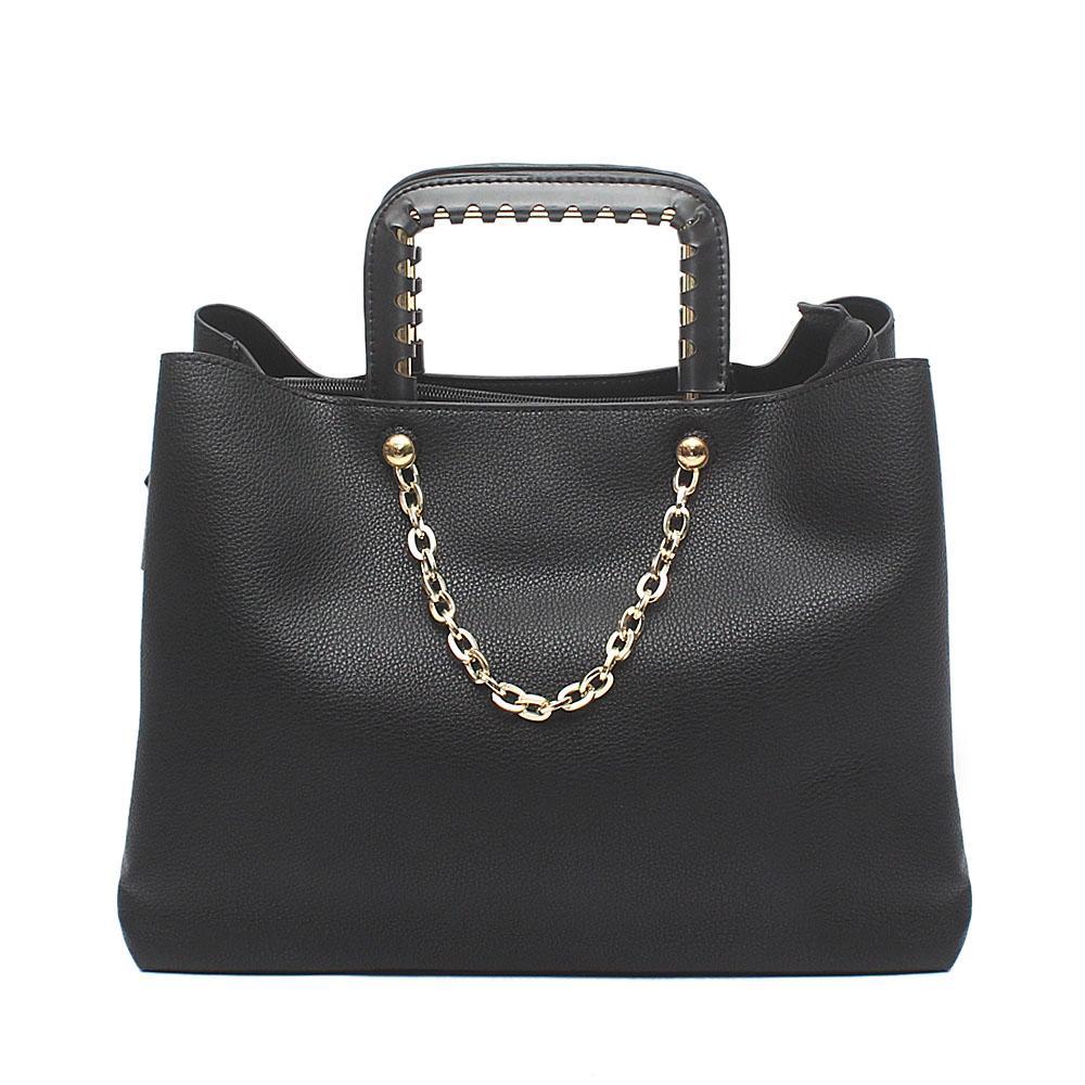 London  Style Black Leather Handbag