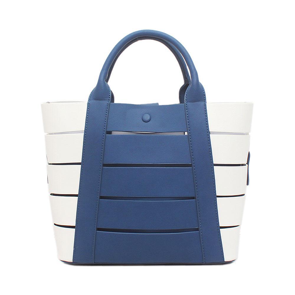London Style Blue White Leather Handbag
