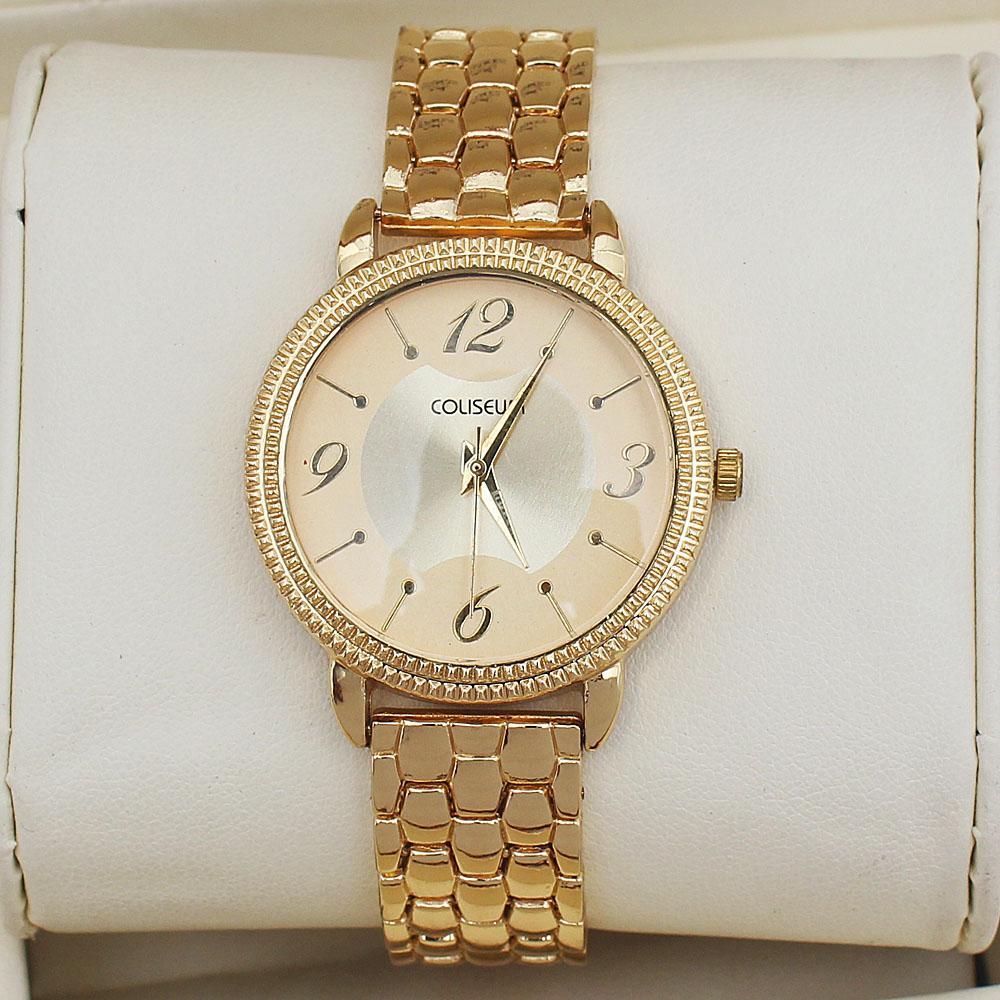 Coliseum Famous Gold Faced Ladies Fashion Watch-