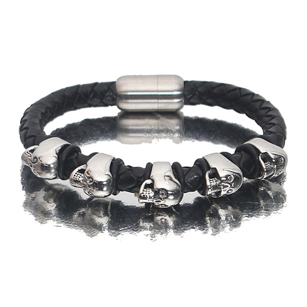 Silver Black Serial Skull Leather Bracelet