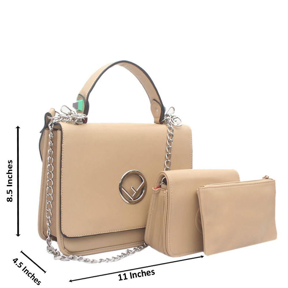 Khaki Leather 3 in 1  Handle Bag