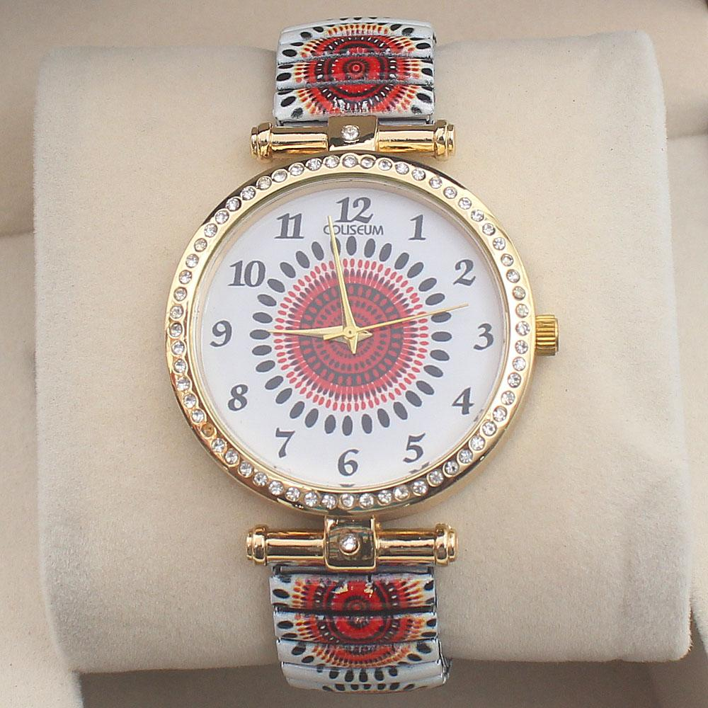Coliseum White Steel Studded Ladies Band Watch
