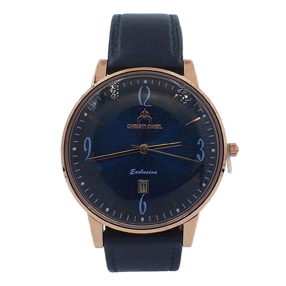 Navy Rose Gold Iconic Leather Flat Watch