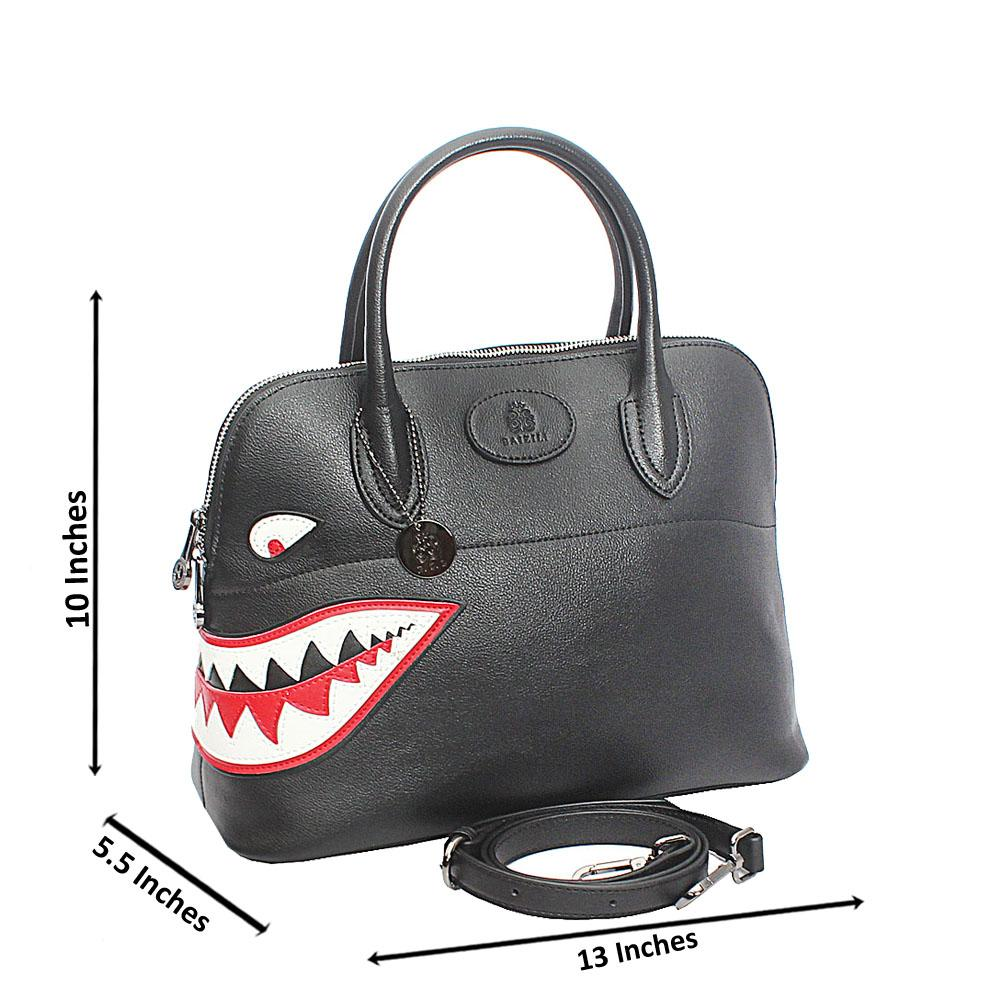 Baizili Black Dual Style Italian Leather Tote Handbag