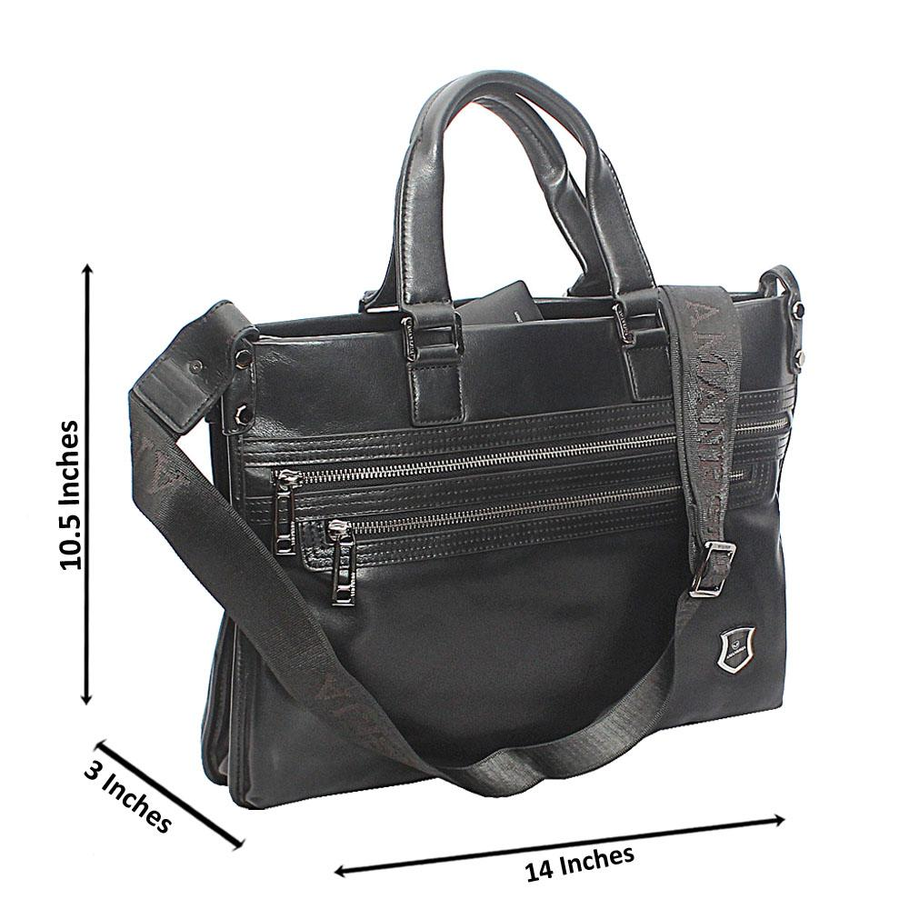 Black Modern Multizip Tote Man Bag