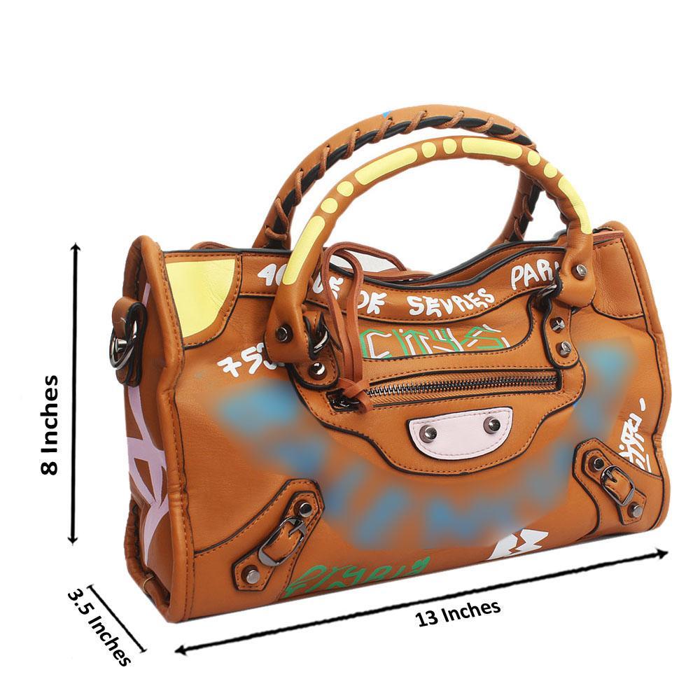 Brown Leather Small City Bae Tote Handbag