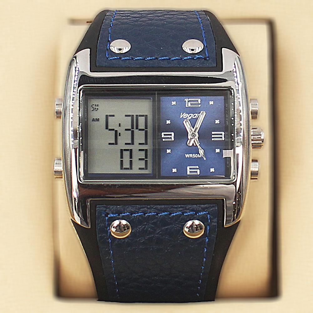 Vegans Blue Rubber Leather Water Resistant 50M Analog-Digital Watch