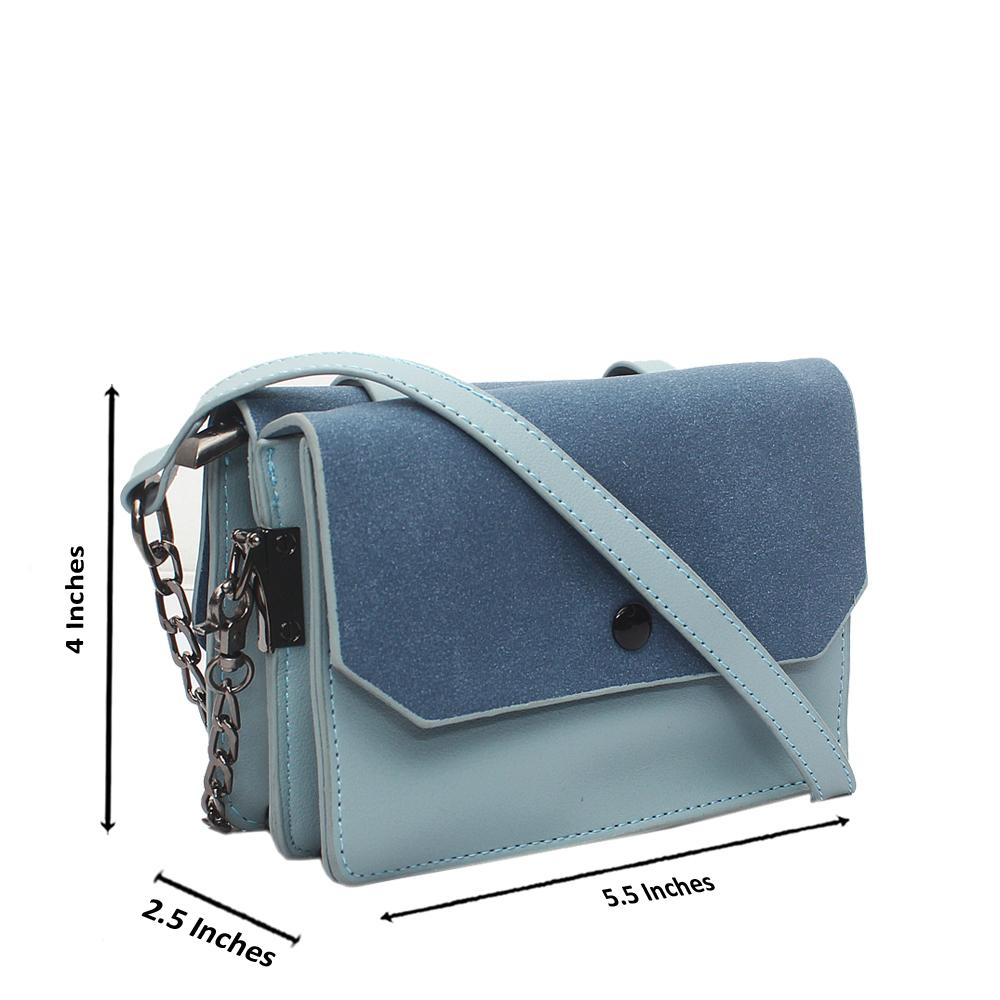 Sky Blue Leather Mini Crossbody Bag