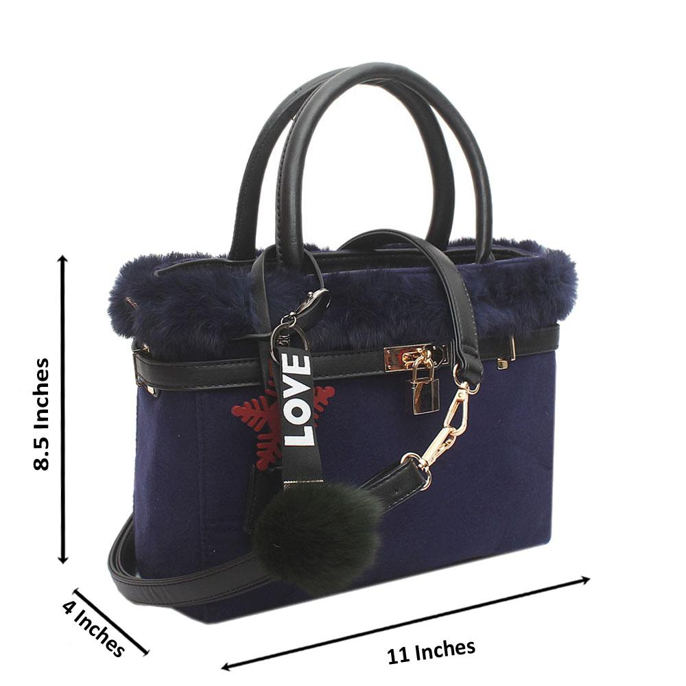 Navy Furry Medium Tote Handbag