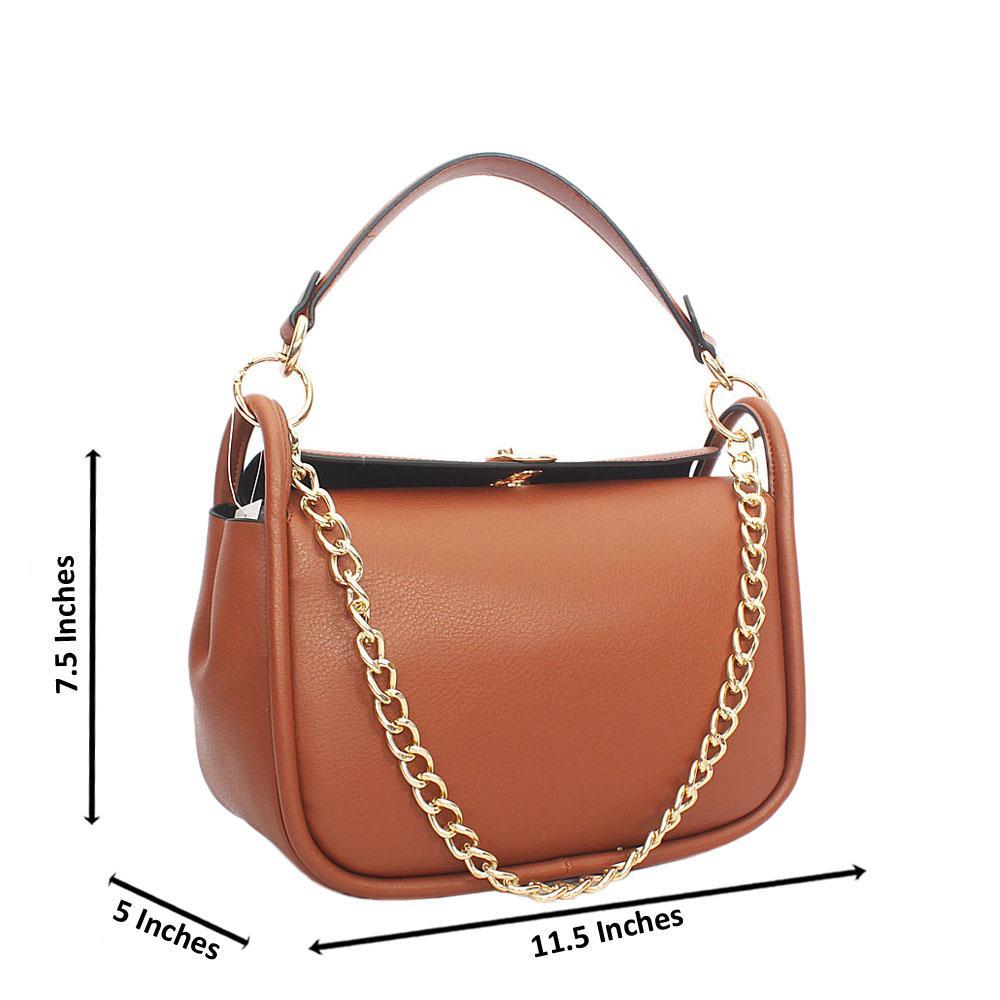 Morenna Brown Leather Top Handle Handbag