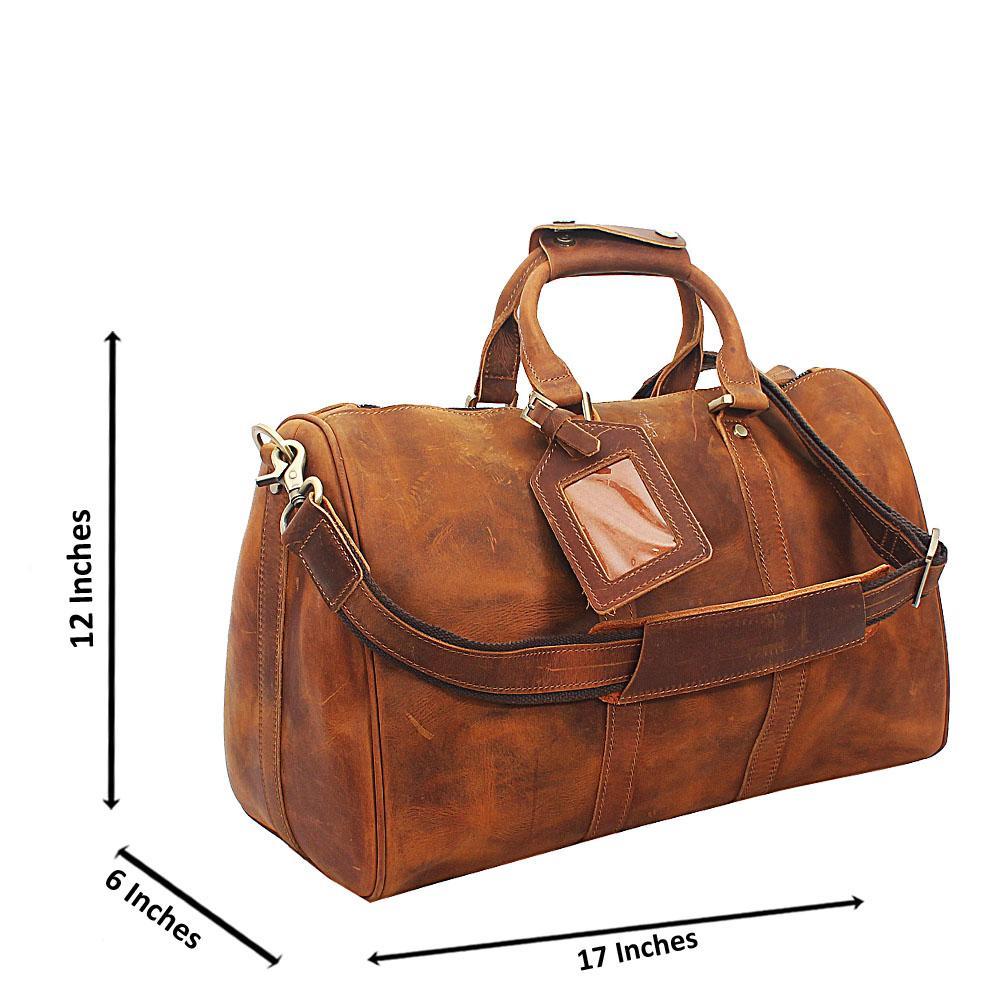 Brown Cowhide Leather Duffel Bag