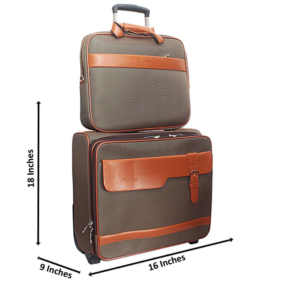 Brown Green Fabric 2 in 1 Pilot Suitcase Wt Lock