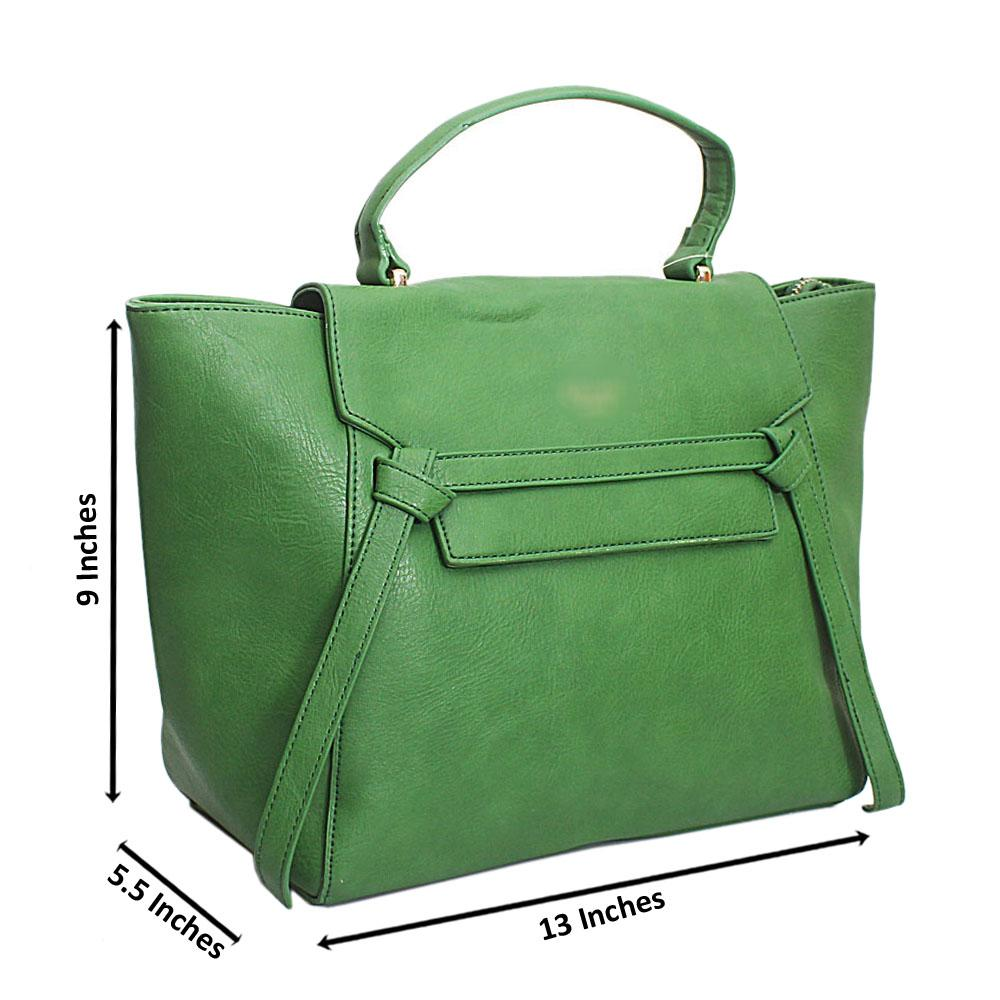 Green Leather Medium Belt Top Handle Handbag