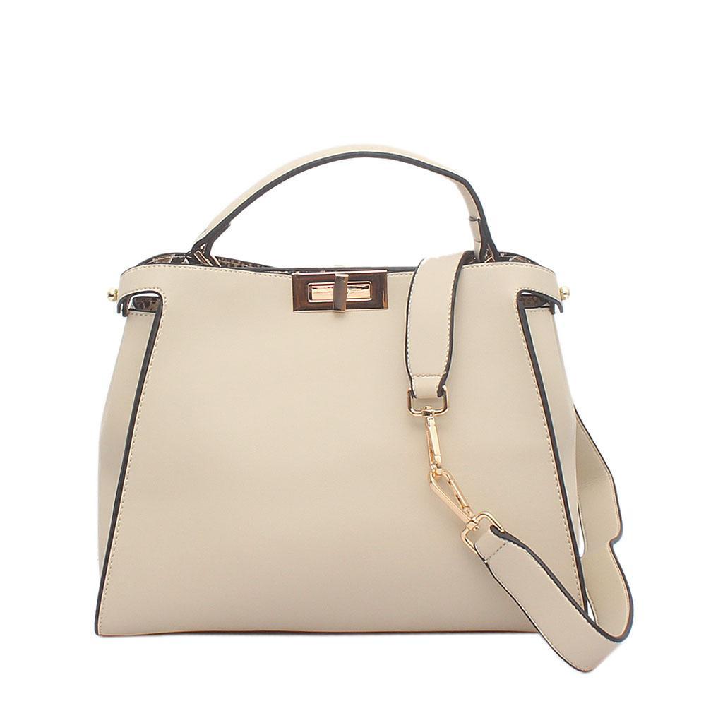 Off White Calfskin Leather Peekaboo Bag