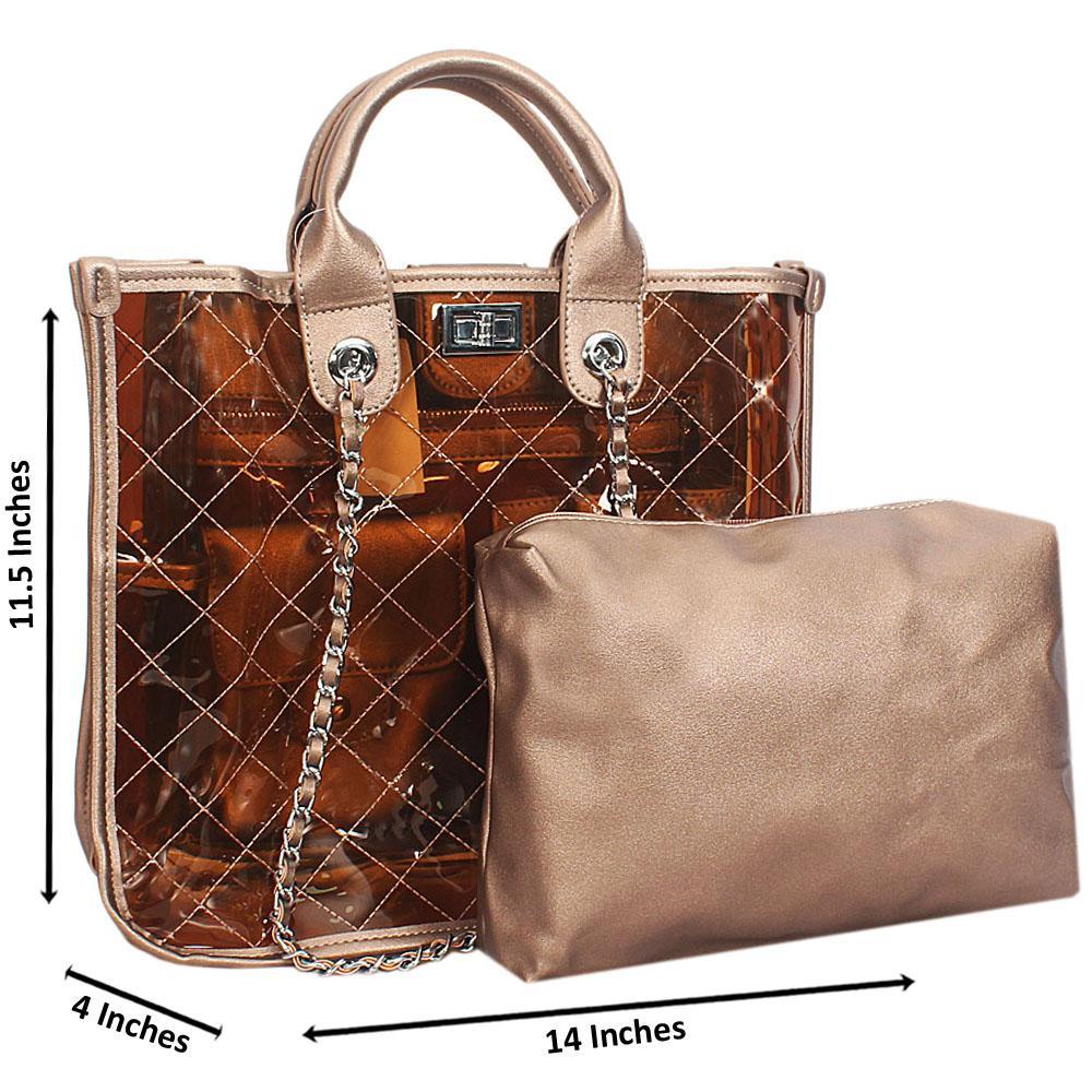 Bronze Morgan Transparent Rubber Leather Tote Handbag