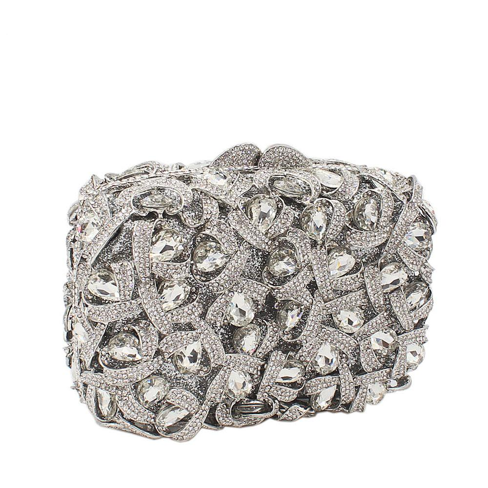 Silver Box Diamante Crystals Clutch Purse