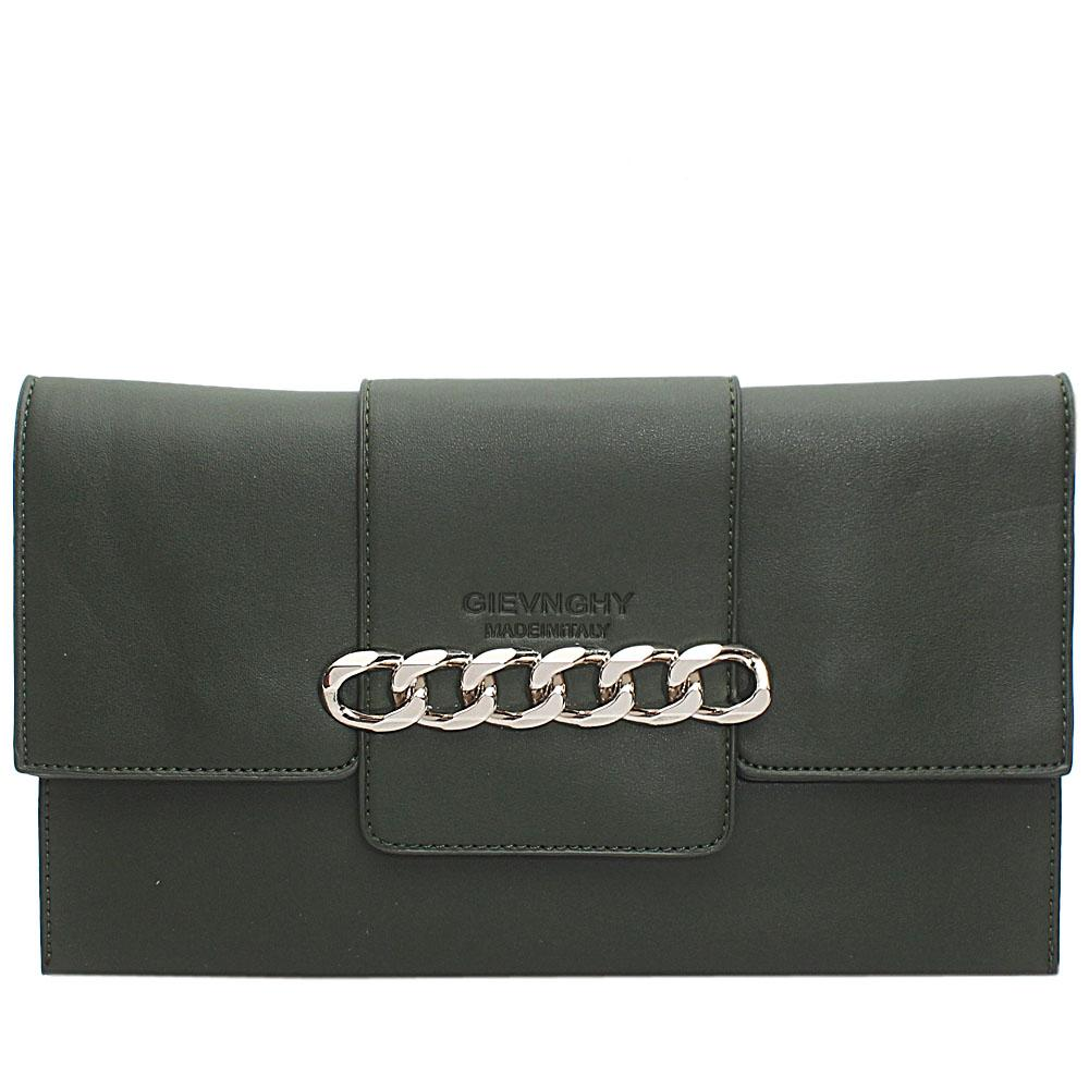 Green Chain Design Leather Flat Purse