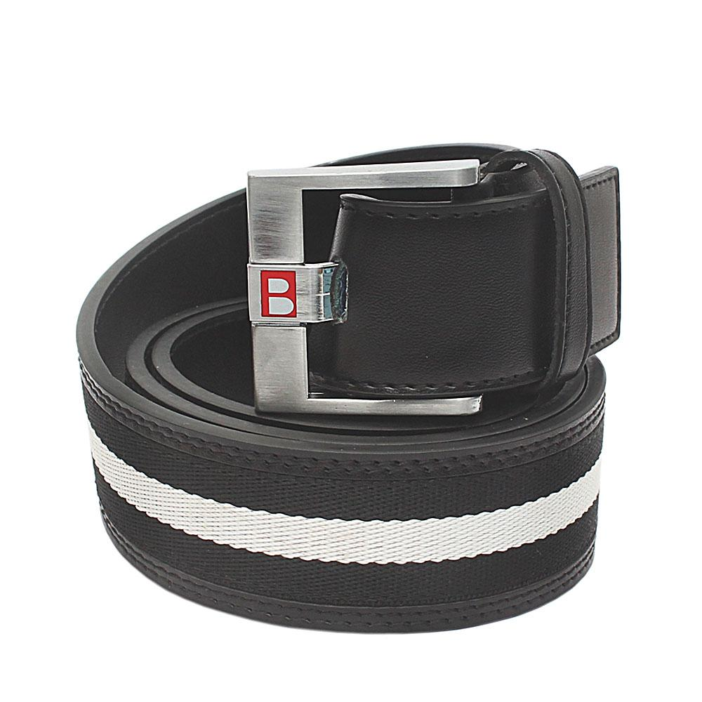 Black White Fabric Leather Belt L 46 Inches