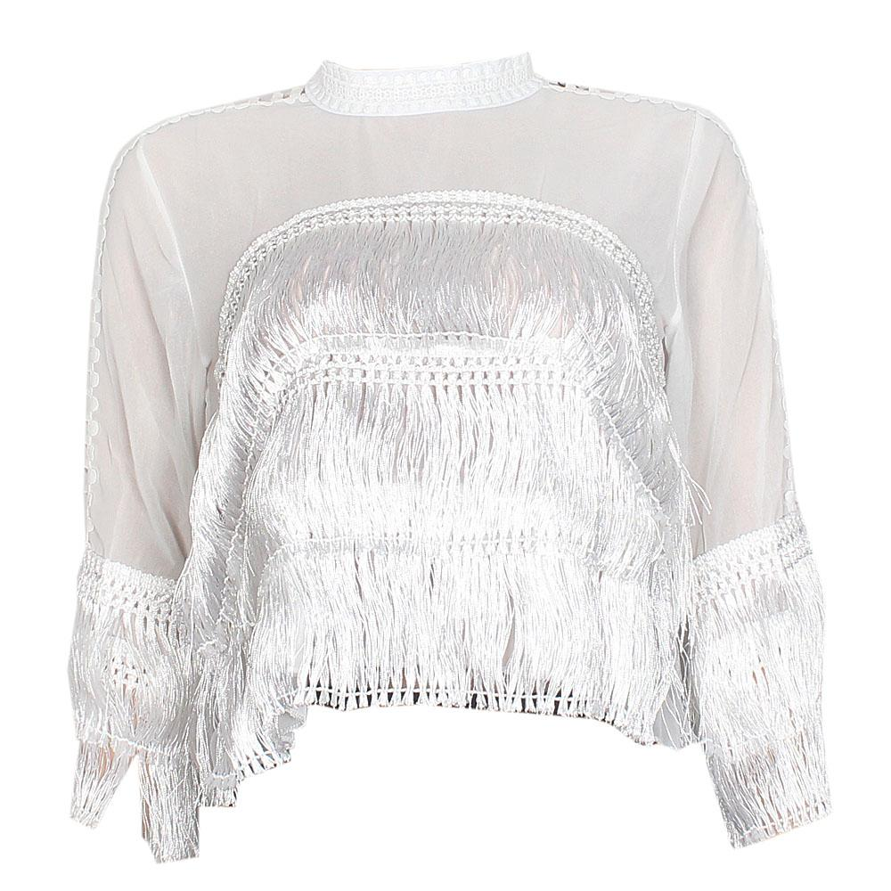 White See Through Ladies Fringe Crop Top