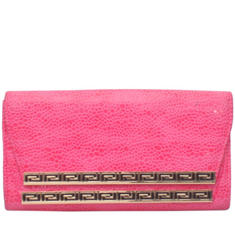 Fashion Pink Leather Clutch Purse