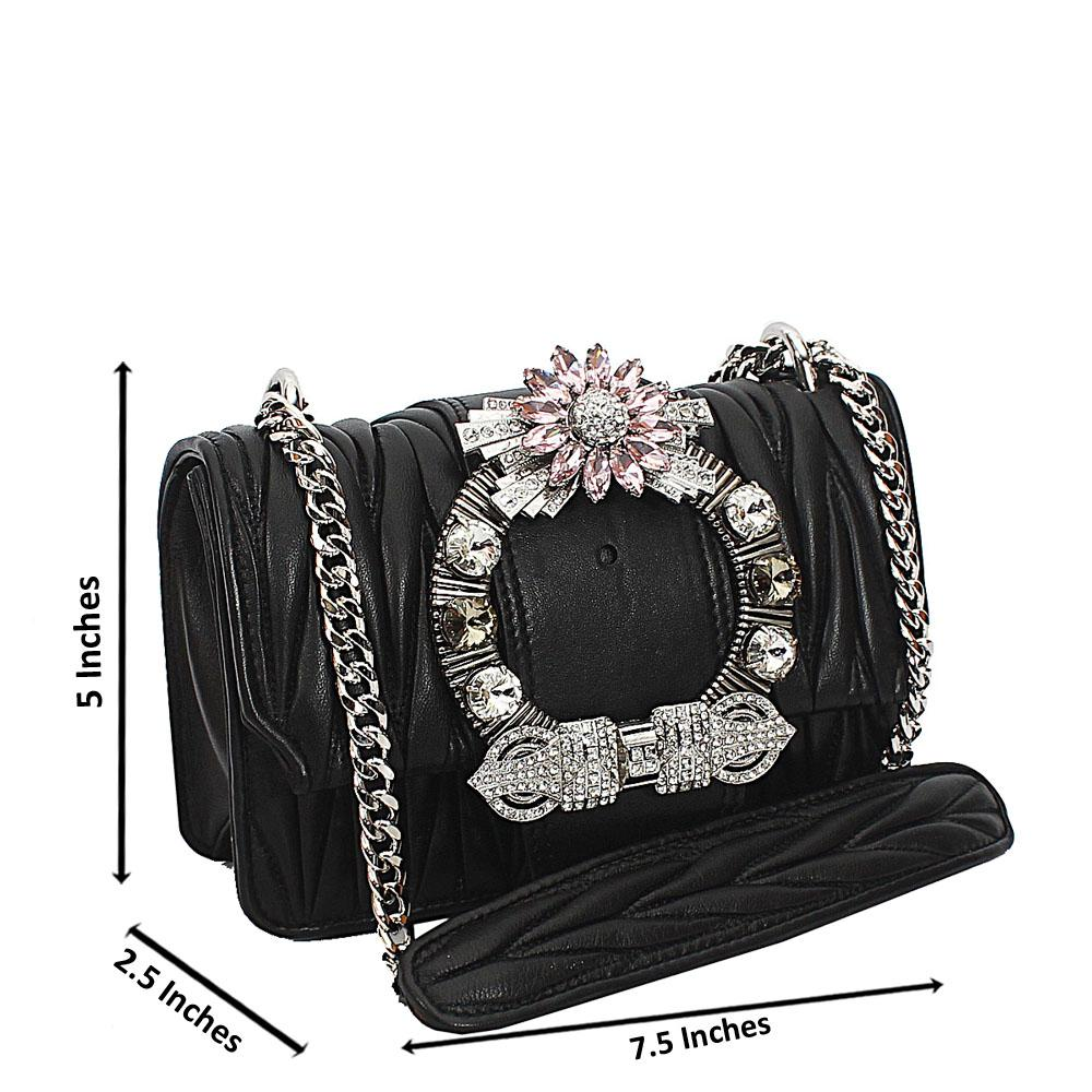 Black Crytals Studded Chain Crossbody Handbag