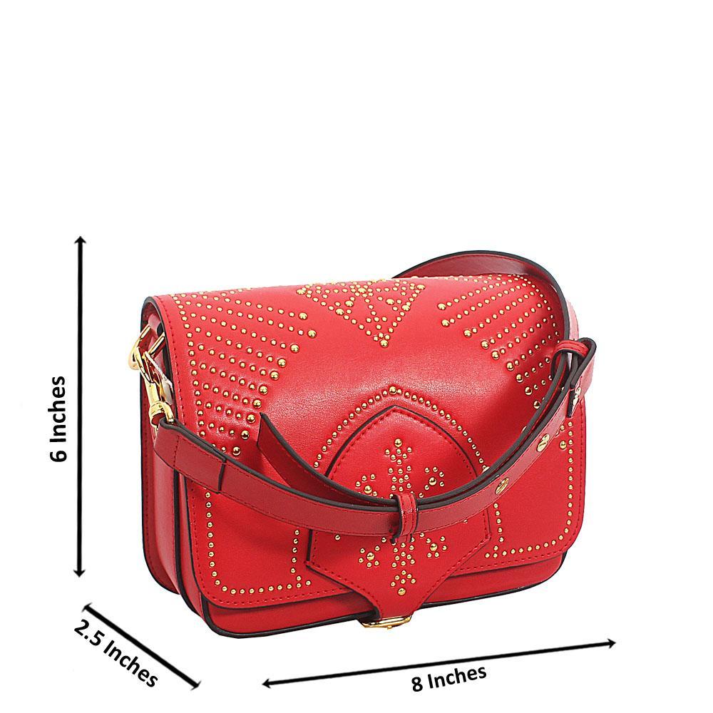 Red Studded Tuscany Leather Crossbody Handbag
