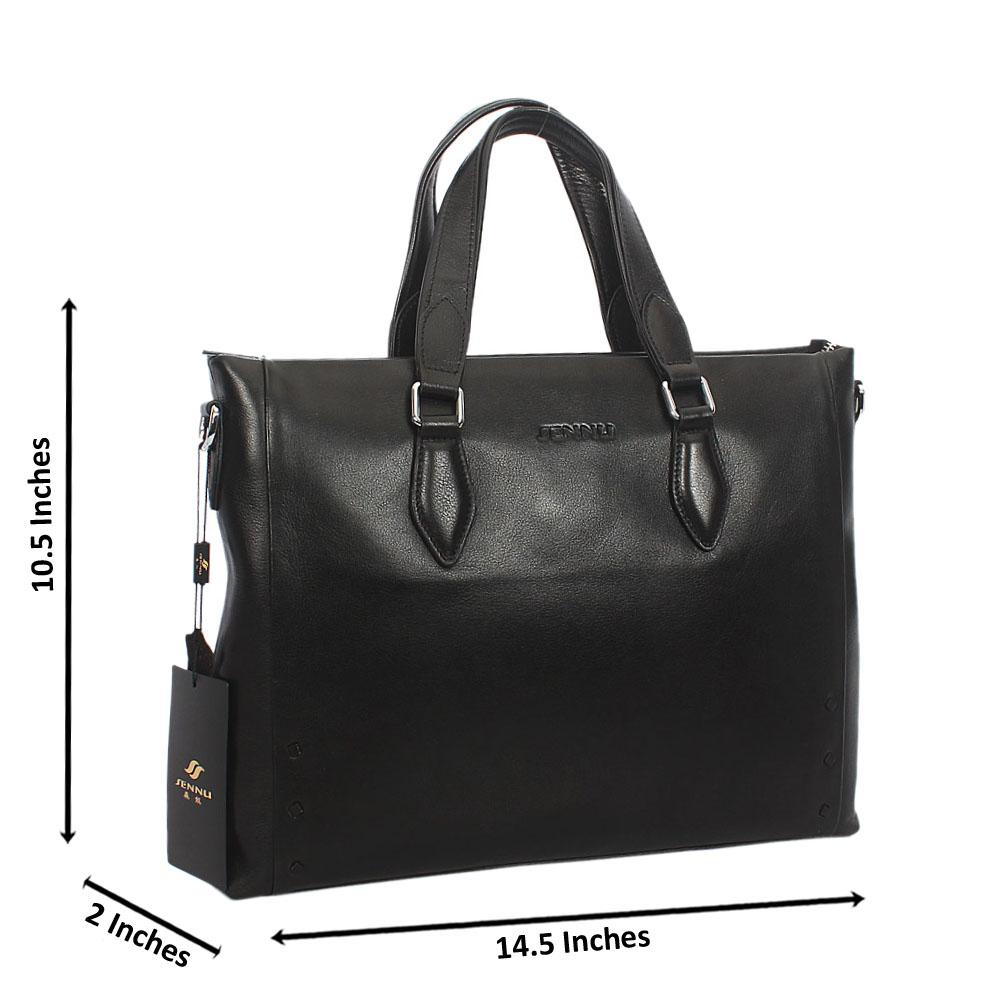 Black Classic Smooth Grain Leather Briefcase