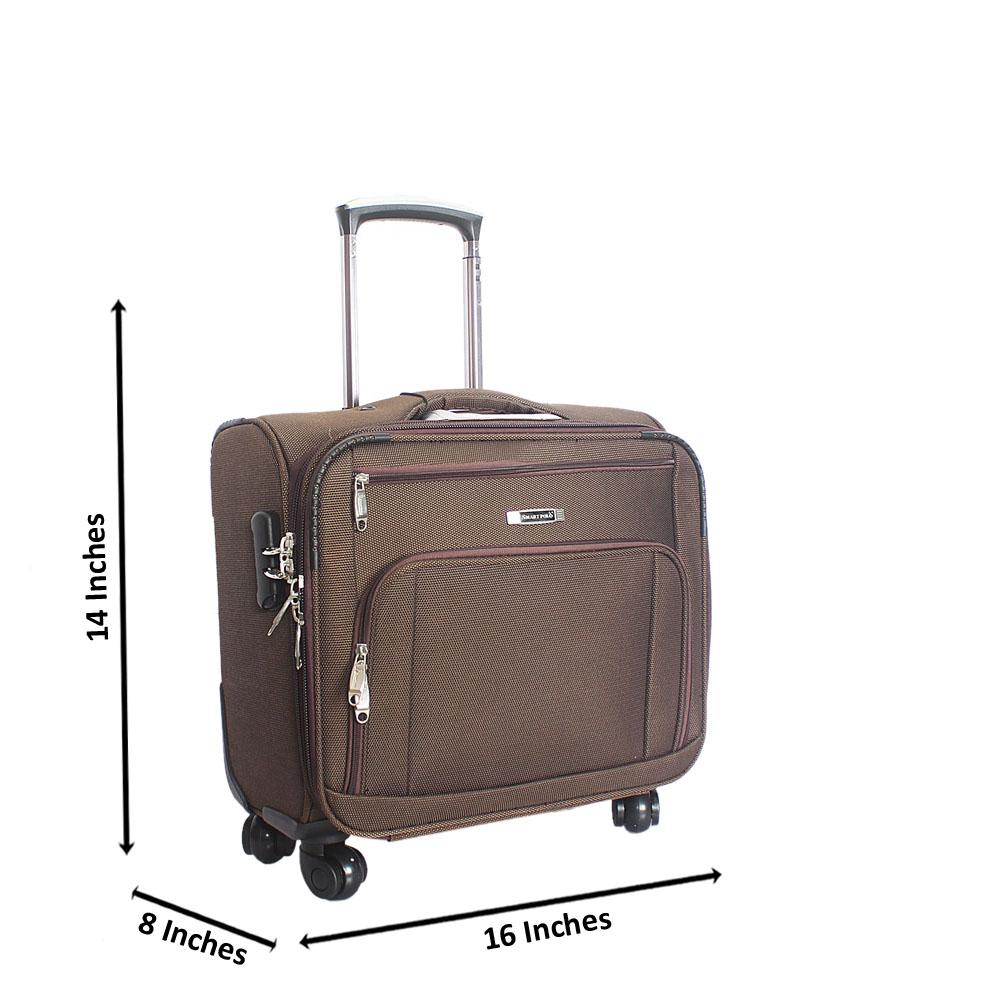 Brown Fabric 4 Compartment 4 Wheels Spinners Pilot Suitcase
