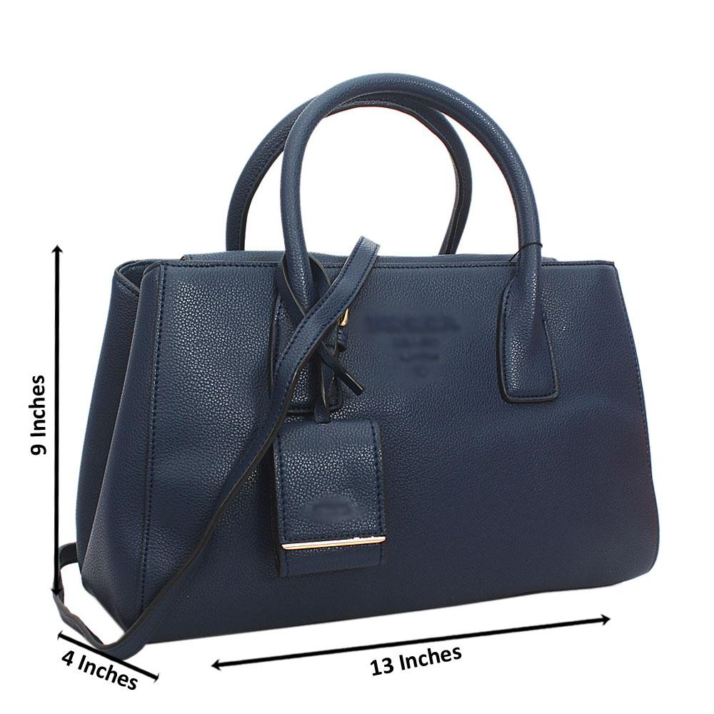 Blue Monochrome Cowhide Leather Tote Handbag