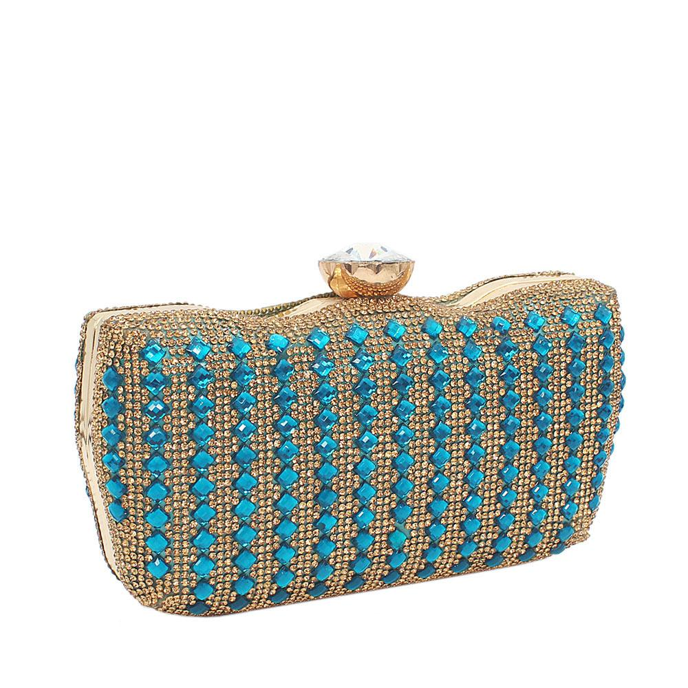 Blue Ellena Stone Studded Hard Clutch Purse