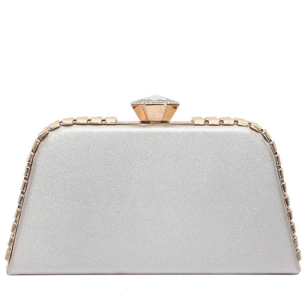 Silver Leather Premium Hard Clutch