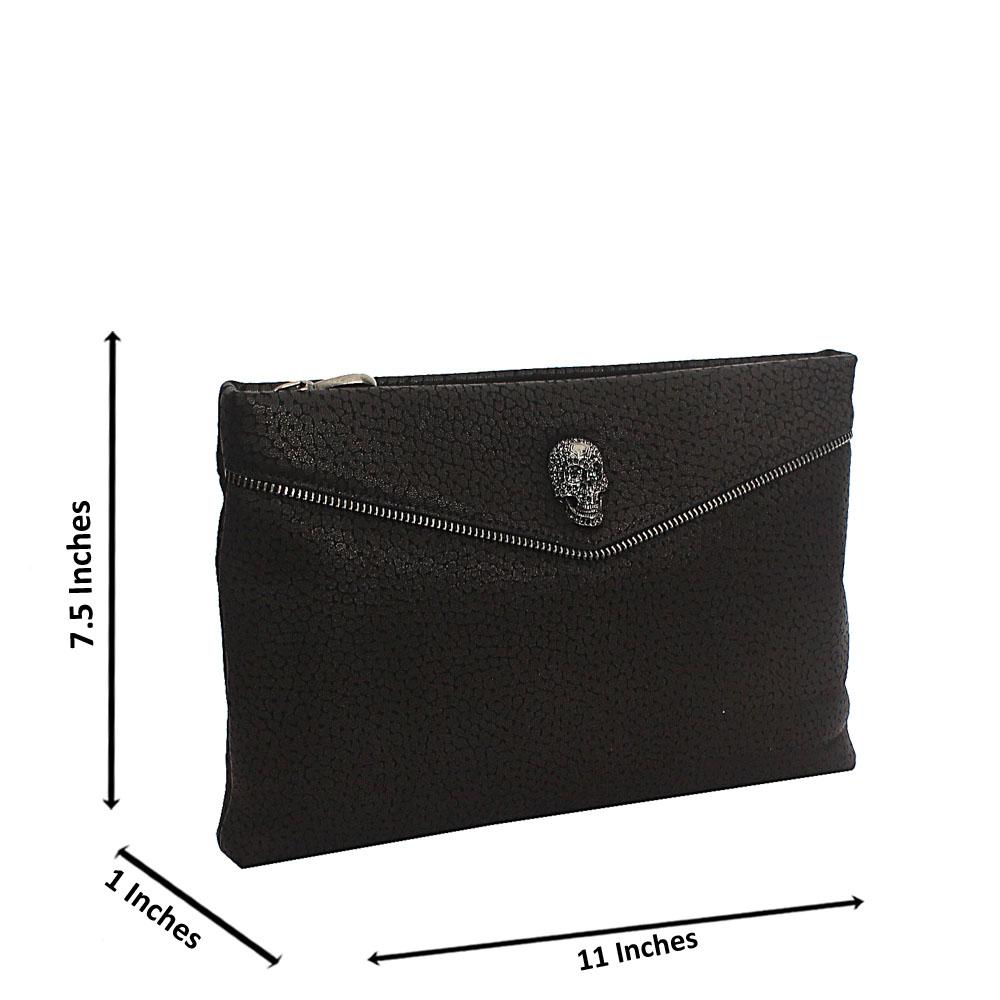 Black Skull Design Montana Leather Man Flat Purse