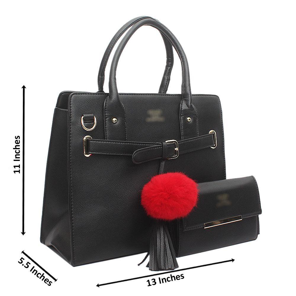 Black Strap Belted Bag wt Purse