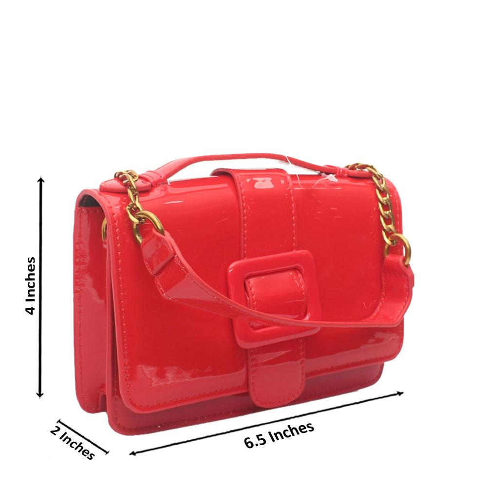 Red Patent Leather Small Crossbody Bag