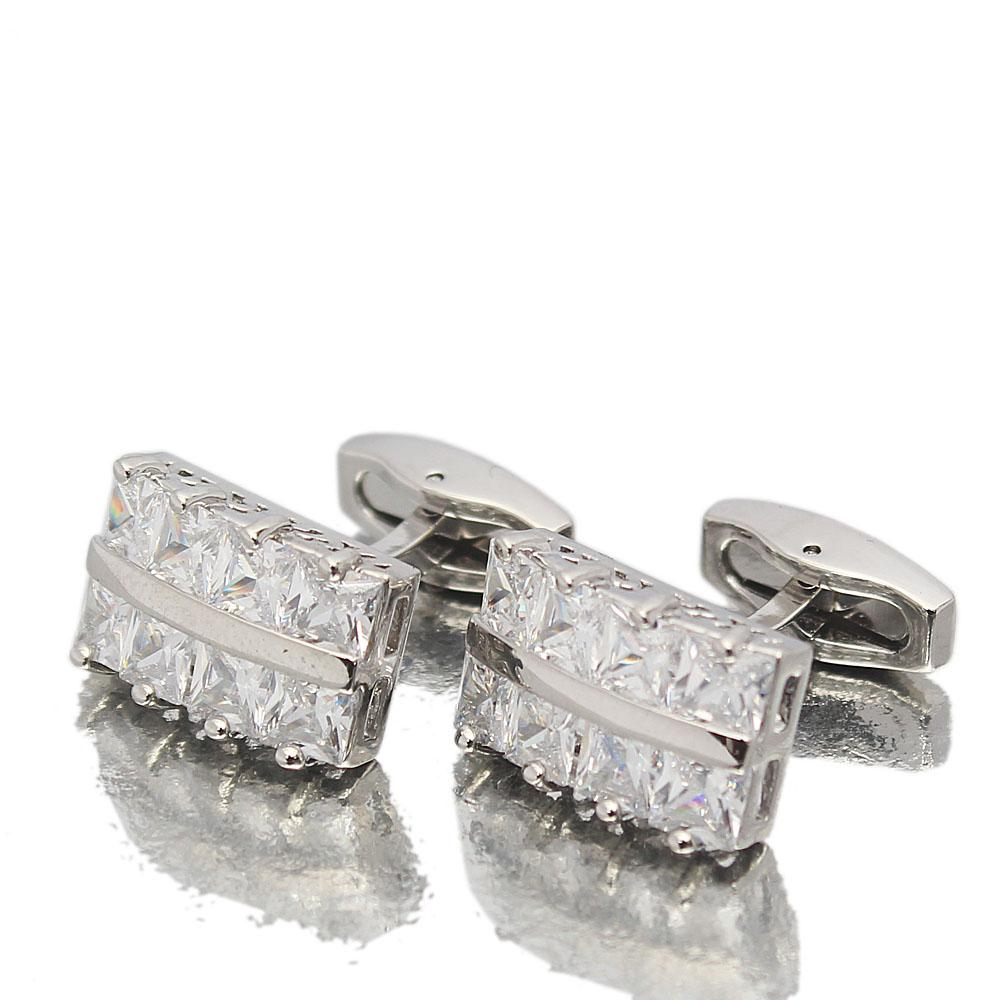 Silver Diamond Ice Stainless Steel Cufflinks