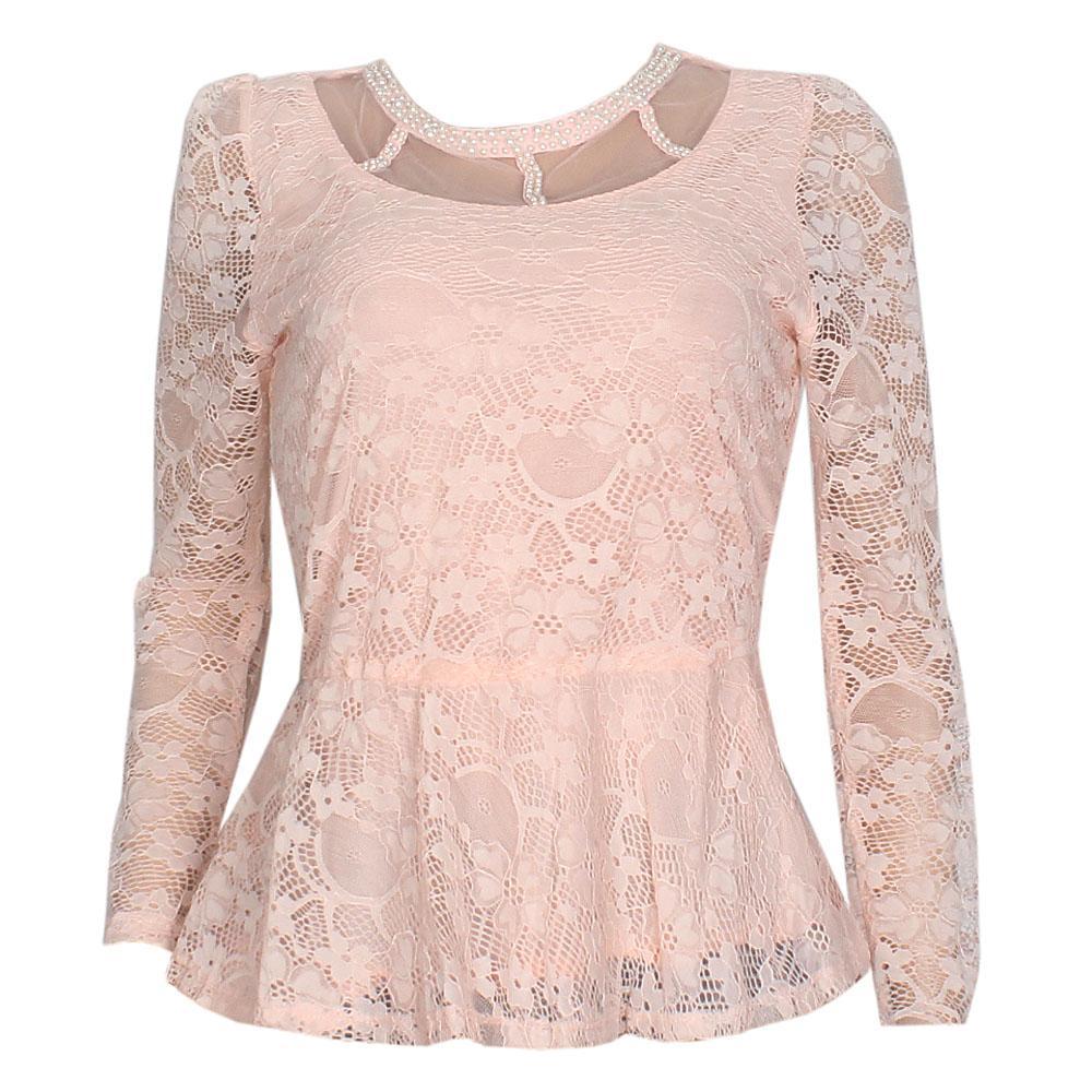 Peach L/Sleeve Netty Ladies Top