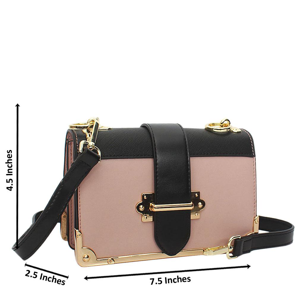 Pink Black Isabella Leather Crossbody Handbag