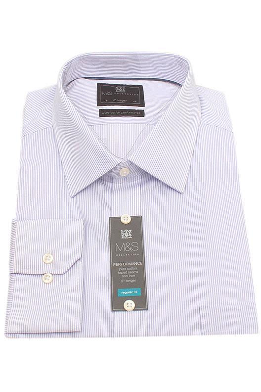 "M&S Collection Purple White Stripe 2"" Longer Men Shirt"