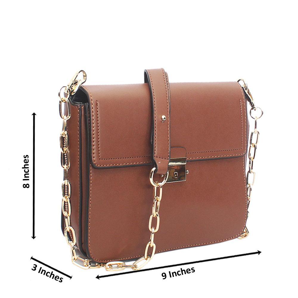 Brown Lenine Tandy Leather Crossbody Handbag
