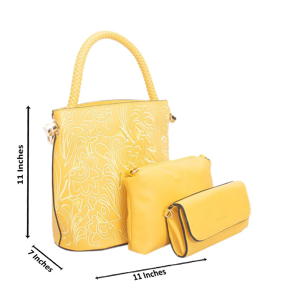 Yellow Leather Bucket Handbag