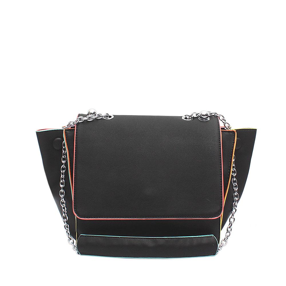 Snorks Barbie Black Leather Shoulder Bag