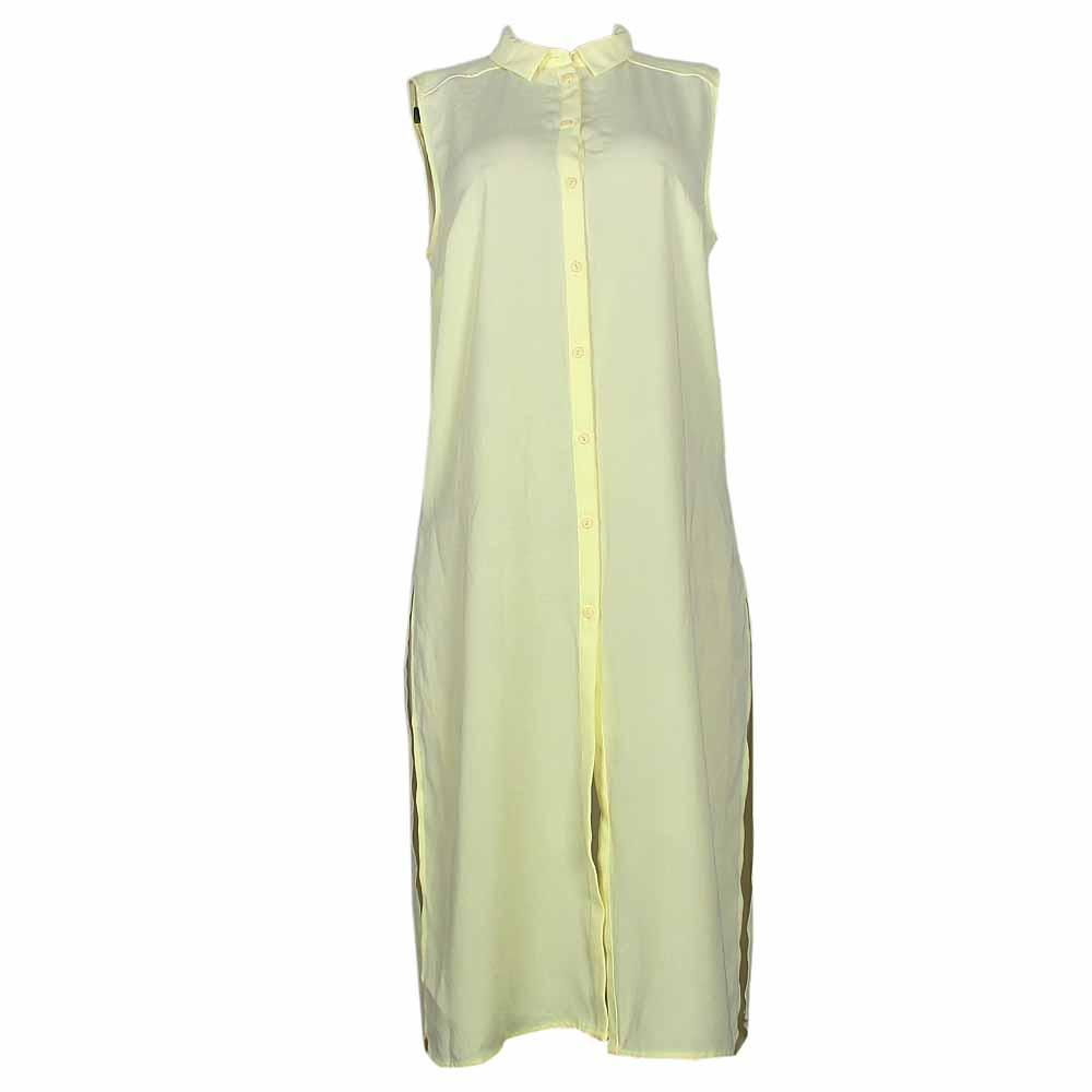 Limited Neon Yellow Ladies Sleeveless Shirt Dress-Uk 10