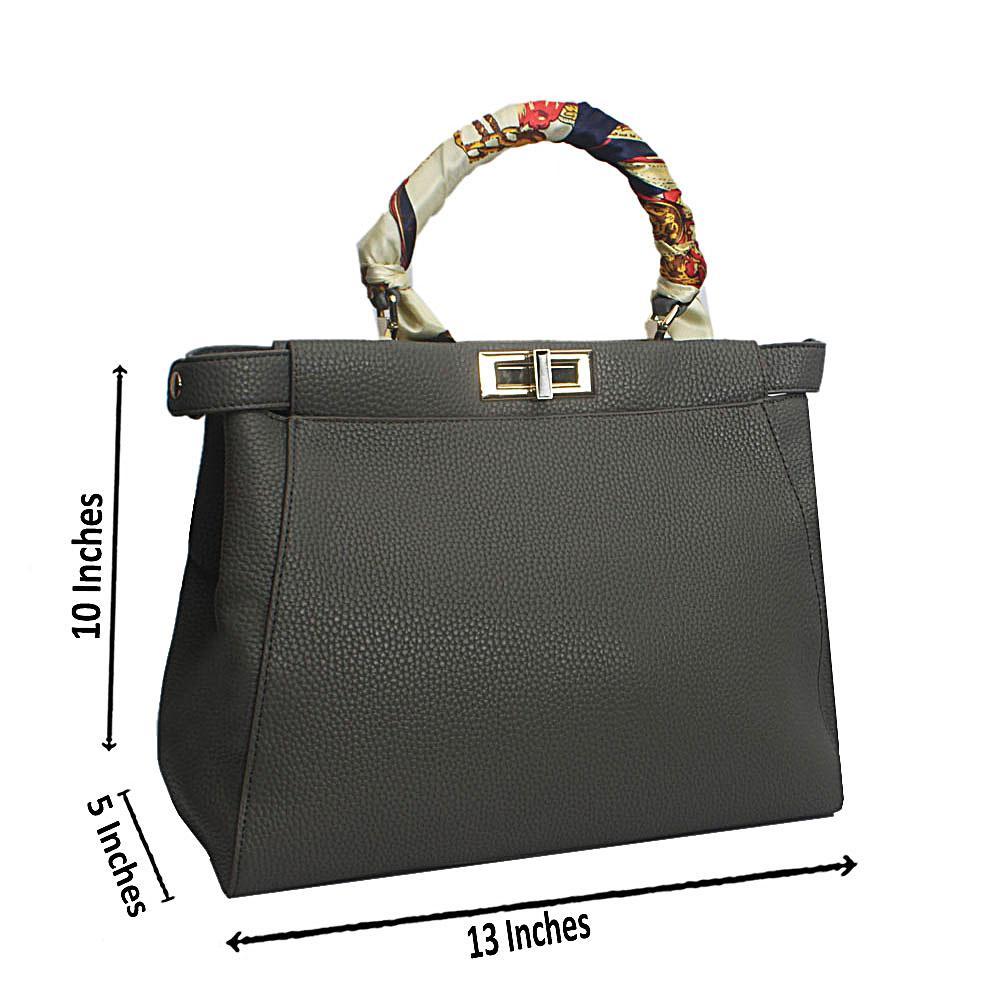 Grey Floral Scarf Leather Handbag